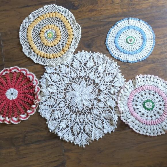 5 Vintage Crochet Doilies